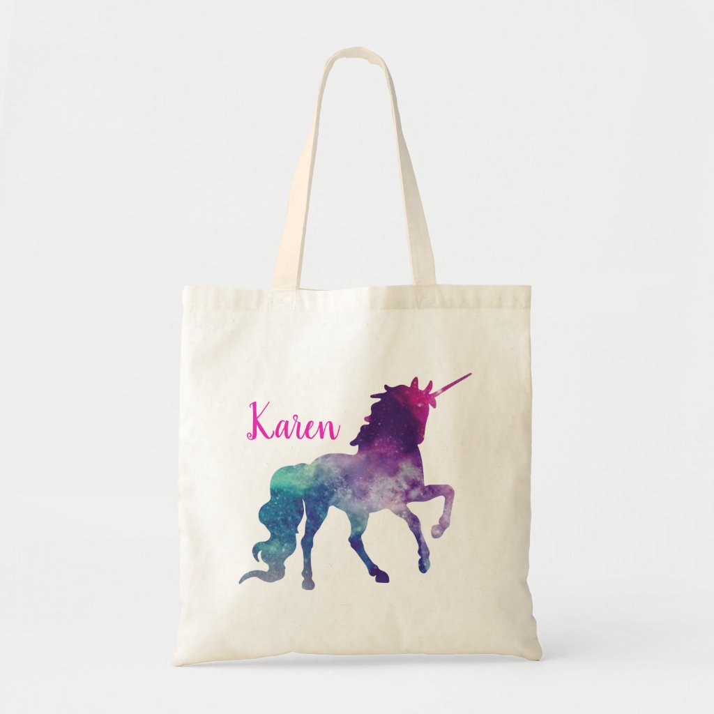 Personalised Purple and Blue Magical Unicorn Tote Bag