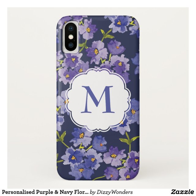 Personalised Purple & Navy Floral  Phone Case