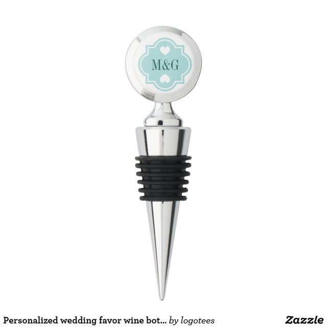 Personalised wedding favour wine bottle stoppers