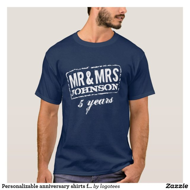 Personalizable anniversary shirts for Mr and Mrs