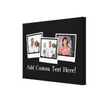 Personalized 3-Photo Snapshot Frames Custom Color Canvas Print