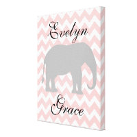 Personalized Elephant Chevron Baby Girl Nursery Canvas Print