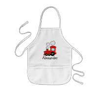 Personalized kids apron   red toy choo choo train