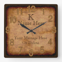 Personalized Monogram Vintage Clock 3 Text Boxes