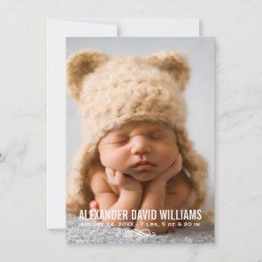 Photo Birth Announcement Card | Modern Elegance