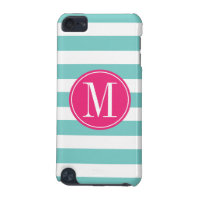 Pink and Light Blue Stripes Custom Monogram iPod Touch 5G Cover