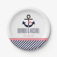 Pink and Navy Nautical Anchor Wedding 7 Inch Paper Plate