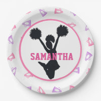 Pink and Purple Megaphones Cheerleader Birthday 9 Inch Paper Plate