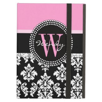 Pink, Black Damask Your Initial, Your Name