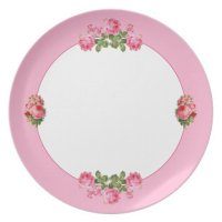 Pink Border Floral Melamine Plate | Zazzle
