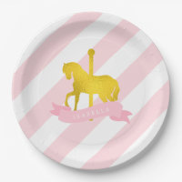 Pink Carousel Horse Birthday Party 9 Inch Paper Plate