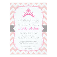 Pink Chevron, Princess Crown, Girl Baby Shower Card