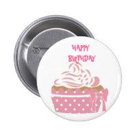 Pink Cupcake Birthday Badge 2 Inch Round Button