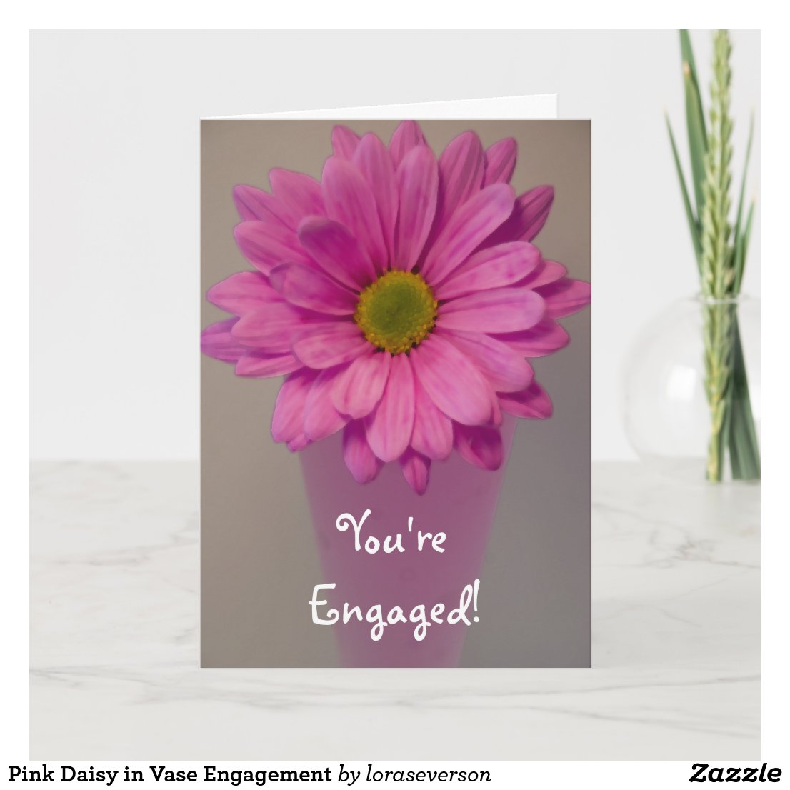 Pink Daisy in Vase Engagement Card