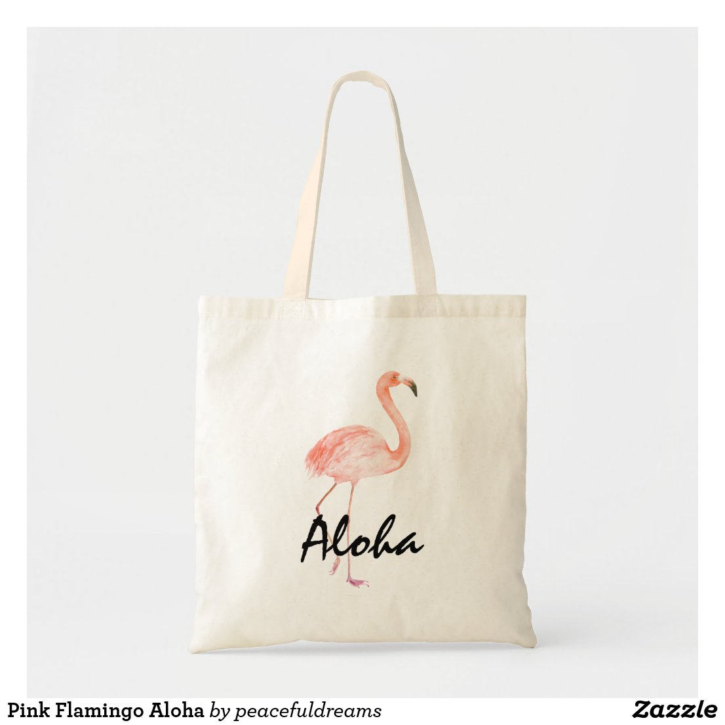 Pink Flamingo Aloha Tote Bag