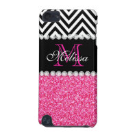 PINK GLITTER BLACK CHEVRON MONOGRAM iPod TOUCH 5G COVER