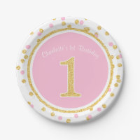 Pink Gold Faux Glitter Confetti 1st Birthday Name 7 Inch Paper Plate