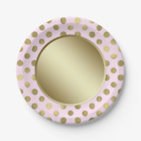Pink Gold Polka Dot Birthday Party 7 Inch Paper Plate