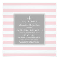Pink Grey Nautical Stripes Baby Shower Invitation