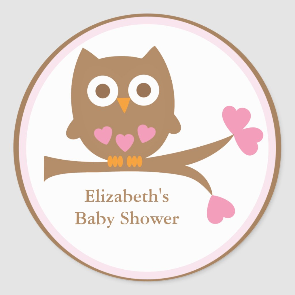 Pink Owl Baby Shower Envelope Seals
