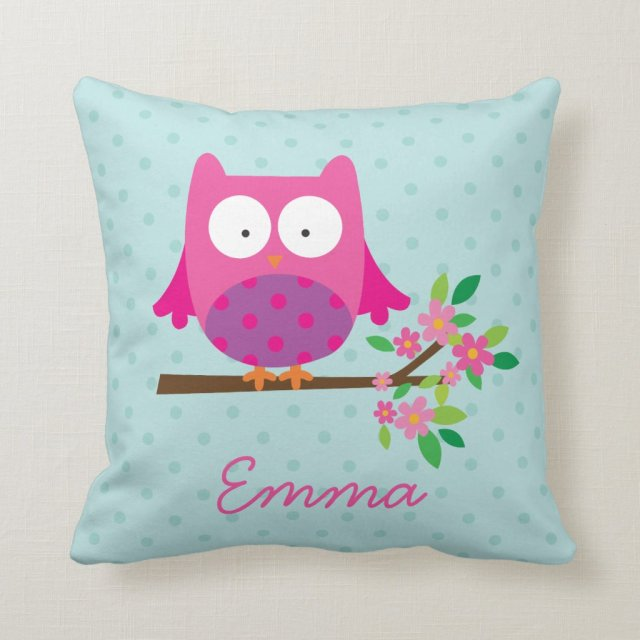 Pink Owl on a Branch Personalised Throw Pillow