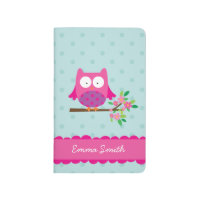 Pink Owl on a Branch Personalized Pocket Journal