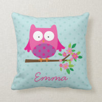 Owl on a Branch Personalized Throw Pillow