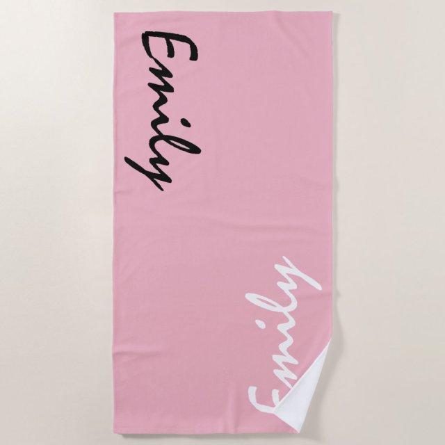 Pink Personalised Beach Towel