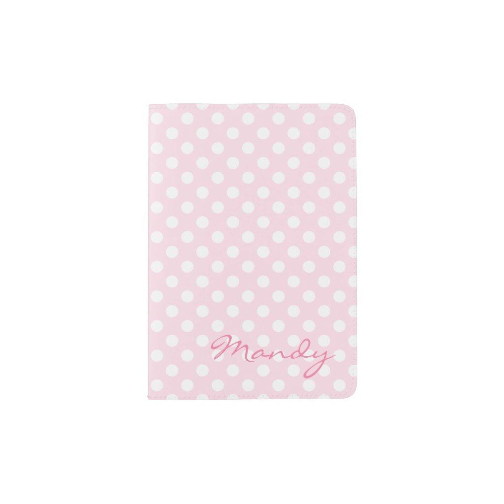 Pink polka dot passport holder