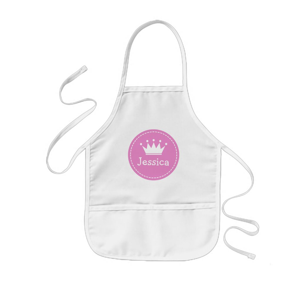 Pink princess crown apron for kids | Personalise