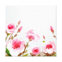pink watercolor rose floral boho bloom canvas print