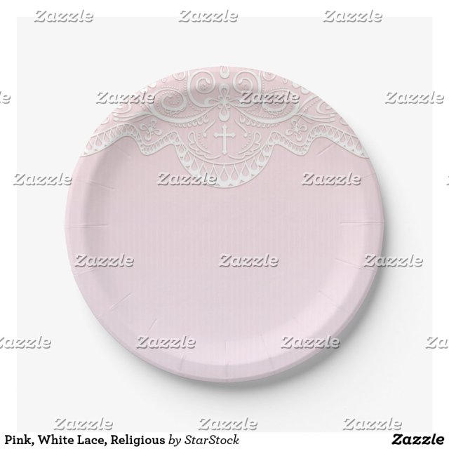Pink, White Lace, Religious Paper Plate