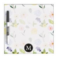 Pink Yellow Watercolor Floral Monogram Dry-Erase Board