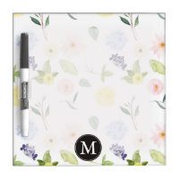 Pink Yellow Watercolor Floral Monogram Dry-Erase Board