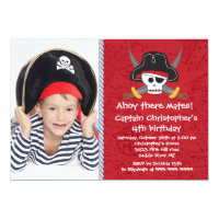 Pirate Ahoy Mates Boy Photo Birthday Party Card