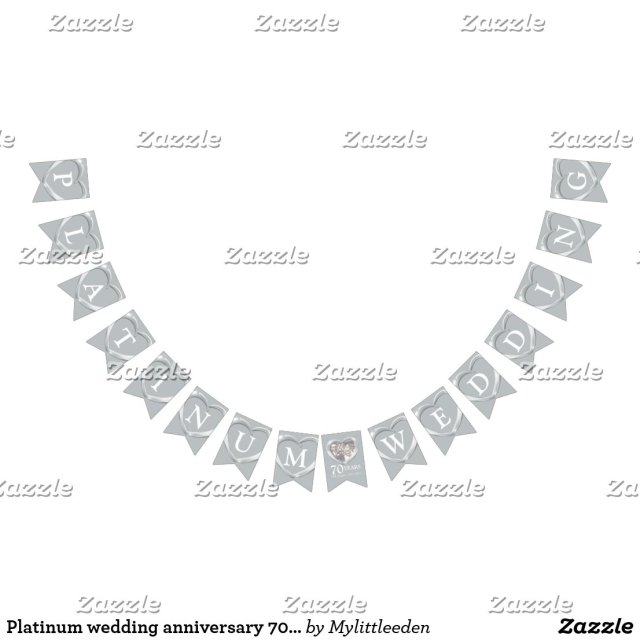 Platinum wedding anniversary 70th photo bunting
