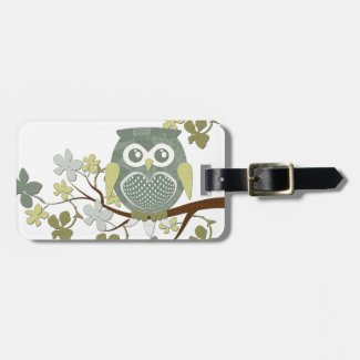 Polka Dot Owl in Tree Luggage Tag
