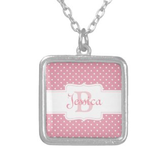 Polka Dots on Pink Necklace