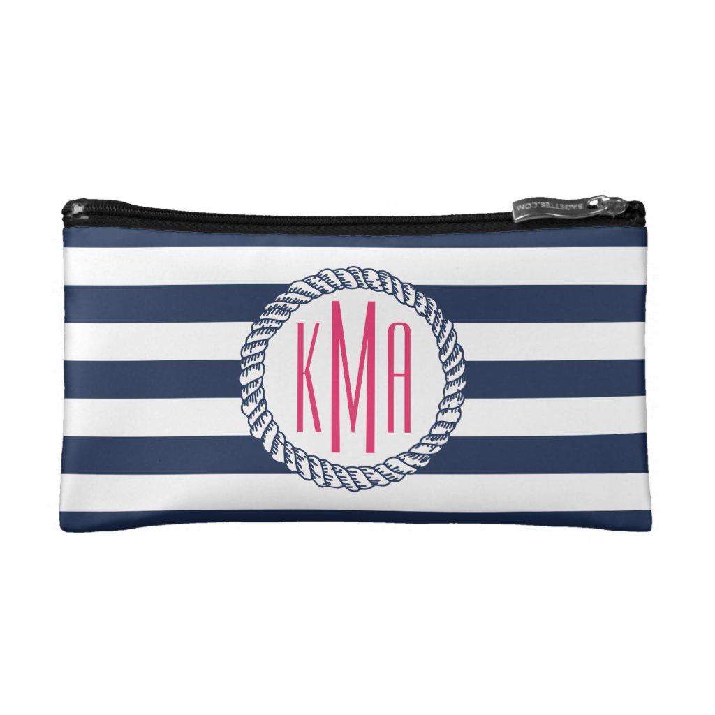 Preppy Nautical Navy & White Stripe Pink Monogram Cosmetic Bag