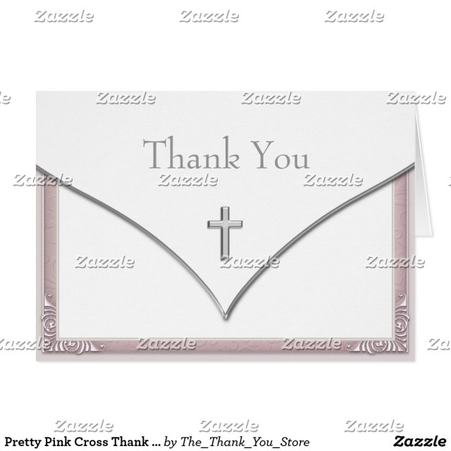 Pretty Pink Cross Thank You Cards
