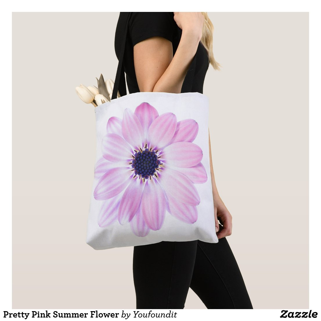 Pretty Pink Summer Flower Tote Bag