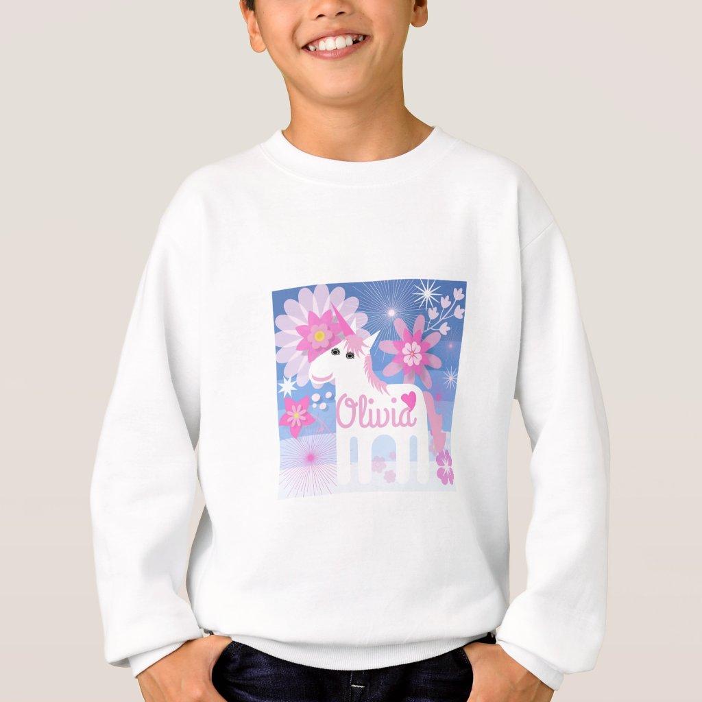 Pretty Pink Unicorn Customisable Kids Sweatshirt