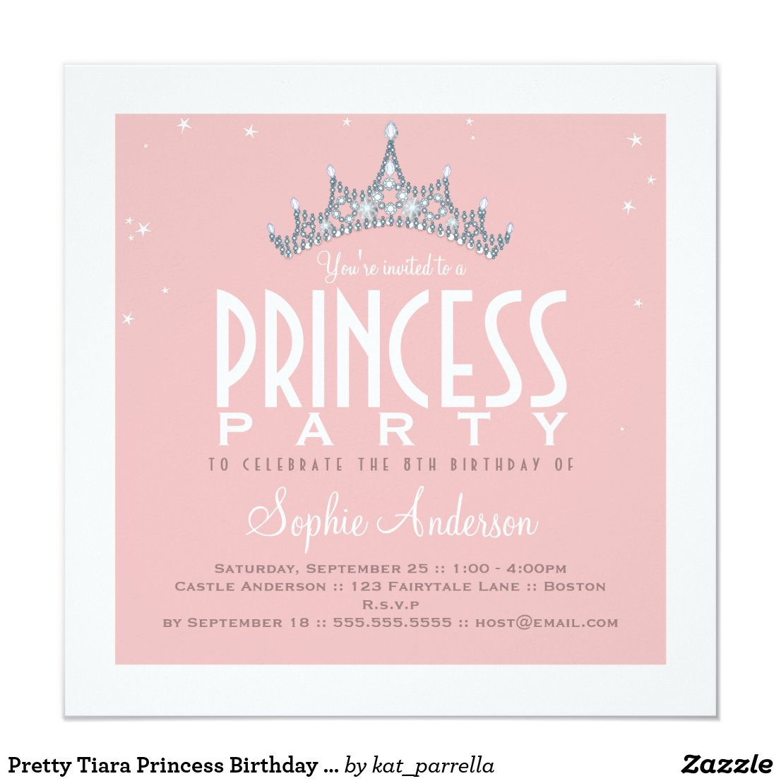 Pretty Tiara Princess Birthday Party Invitation