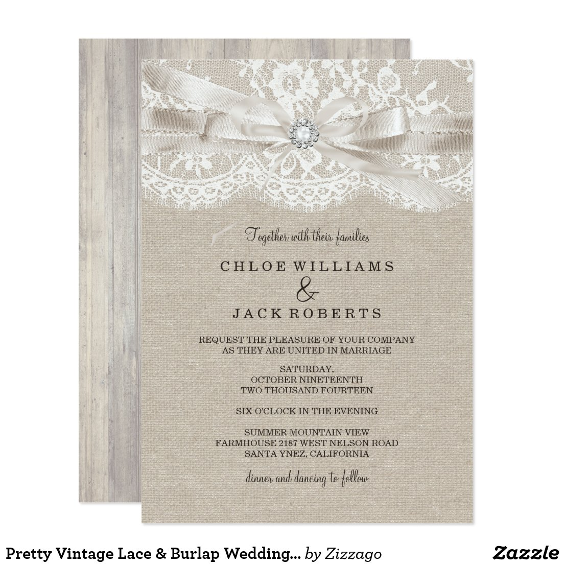 Pretty Vintage Lace & Burlap Wedding Invitation