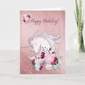 Pretty Watercolor Unicorn Pink & Silver Accents Card