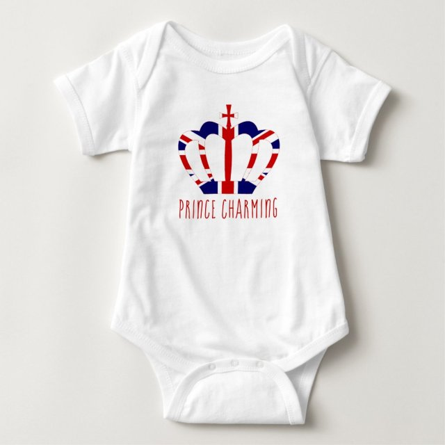 Prince Charming | Union Jack Crown | Funny Baby Bodysuit