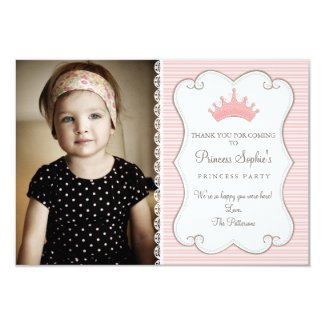 Princess Birthday Photo Thank You Card