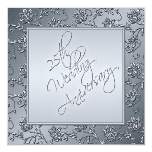 Silver Glitter 25th Anniversary Invitation