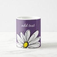 Purple and Yellow Whimsical Daisy Custom Text Coffee Mug
