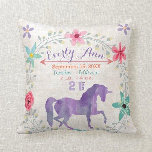Birth Stats Unicorn Cushion